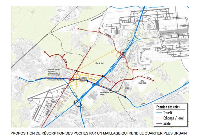 Proposition de resorption des poches par un maillage qui rend le quartier plus urbain Extrait du plan guide pour le Triangle de Gonesse @EPA Plaine de France, Groupement Güller Güller - RHDVHV - EBP / RR&A - PvB avec Setec
