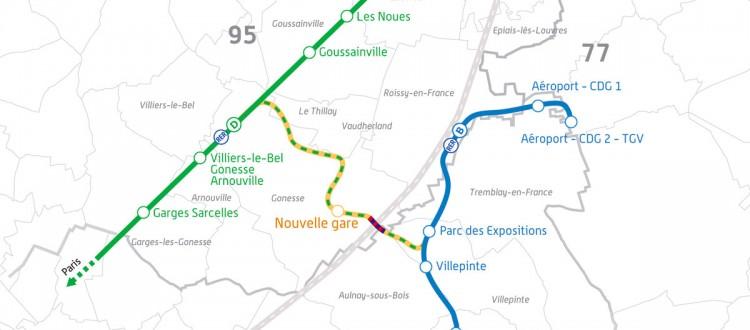 Carte du tracé du RER D @RFF - STIF